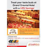 Treat your taste buds at Grand Oriental Hotel with a 10% Saving from Cargills Bank