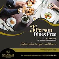 3rd Person Dines Free at Coffee shop Galadari Hotel