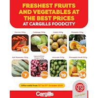 Get the freshest of fruits and vegetables for the best prices only at Cargills FoodCity