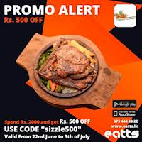 Spend Rs. 2000/- and save Rs. 500/- Order Now from The Sizzle through http://www.eatts.lk