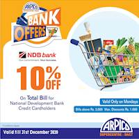 10% Off on Total Bill at Arpico Supercentre for National Development Bank Credit Cardholders