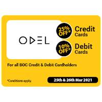 Get up to 25% Off on BOC credit and debit Cards at Odel for this Avurudu 2021
