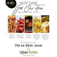 Buy One Get One free on Selected items on Uber Eats at Indian Summer