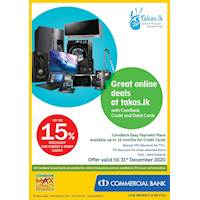 Up to 15% Discount for Combank Credit & Debit Cards at takas.lk