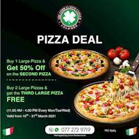 Pizza deal for the month at The Four Leafed Clover