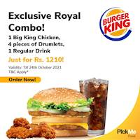 Exclusive Royal Combo via PickMe Food at Burger King