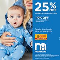 Enjoy 25% off with People's Bank Credit Cards & 10% off with People's Bank Debit Cards at Mothercare!