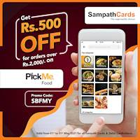 Get Rs. 500/- OFF on orders over Rs. 2000/- for all Sampath Credit and Debit Card at Pickme Food