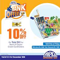 10% Off on Total Bill at Arpico Supercentre for BOC Credit Cardholders