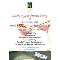 Celebrate your Private Party at Garton's Ark with 15% off on total bill