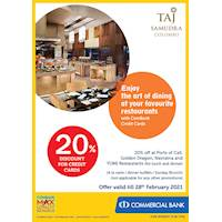 Enjoy 20% Discount for ComBank Credit Cards at Taj Samudra
