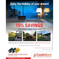 15% savings on Half Board basis with Cargills Bank Credit Cards at Romance Valley – Haputale
