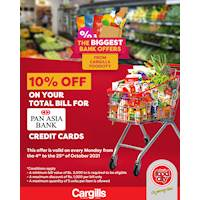 Get 10% OFF on your total bill when you use your Pan Asia credit card on every Monday at Cargills FoodCity