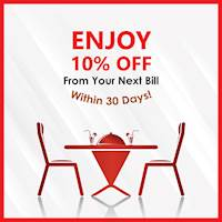 Enjoy 10% OFF from your 2nd bill within 30 days at Chinese Dragon Cafe