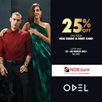 Enjoy 25% OFF with NDB Bank Debit & Credit Cards at all ODEL Stores