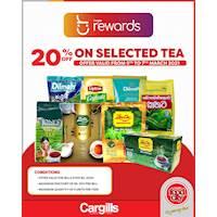 Get 20% off on selected Tea for Cargills Loyalty Customers this Weekend!