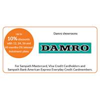 Up to 10% discount on selected products with 12, 24, 36 and 60 months 0% interest instalment plan at Damro showrooms for Sampath Bank Cards
