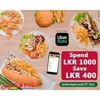 Spend LKR 1000 & Save LKR 400 on Uber Eats at Acropol Restaurant