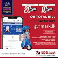 Get up to 20% DISCOUNT for NDB Bank Cards at GLOMARK and www.glomark.lk on every Saturday