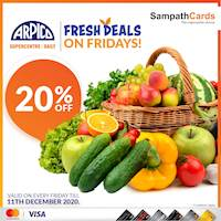 Enjoy 20% off on Fresh Vegetables, Fruits, Seafood & Meat on every Friday at Arpico Super Centres, Super Stores and Arpico Daily Supermarkets for all Sampath Mastercard & Visa Credit Cardholders