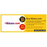 Enjoy up to 50% Off on Selected items for BOC credit and debit cards at BuyAbans.com