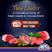 Enjoy 15% off for Exclusive meat items at Arpico Supercentre