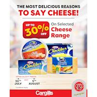 Get up to 30% OFF on a selected cheese range at Cargills FoodCity