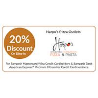 20% OFF on dine-in at Harpo's Pizza outlets for all Sampath bank cards