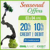 Enjoy 20% Off On Commercial Bank Credit Card and 10% Off Debit Cards at any Cool Planet store or www.coolplanet.lk