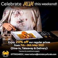 Enjoy 20% savings on all food and beverages at Ministry of Crab
