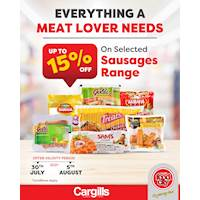 Get up to 15% OFF on Selected Sausages range at Cargills Food City