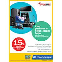 Enjoy Up to 15% Discount For Combank Credit and Debit Cards at Ranga Shopping Center