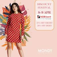 Enjoy 25% off on Credit & 20% off on Debit cards, exclusively for NDB bank cardholders at Mondy