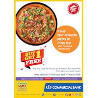 Enjoy your favourite pizzas at Pizza Hut with ComBank Credit Cards.
