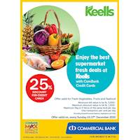 Enjoy 25% Discount on Vegetables, Fruits and Seafood for Combank Credit Cards at Keells