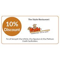 Get 10% OFF at The Sizzle Restaurant for Sampath Visa Infinite, Visa Signature & Visa Platinum Credit Cardholders