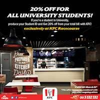 20% off for all university students at KFC Sri Lanka