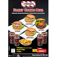 4 Burgers, Nacho Chips and 4 Coke from TGI Fridays Only for 2500/-
