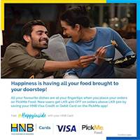 Save your HNB Visa Card on the PickMe app and get LKR 400 flat discount for orders above LKR 500 with PickMe Food for New Users