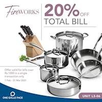 Enjoy 20% off on total bill for bills over Rs. 1,000 at Fire Works for One Galle Face Members