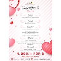 Valentine's menu at Indian Summer