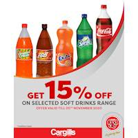 Get 15% off on selected Soft Drinks at Cargills FoodCity!