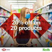 Enjoy 20% off on 20 products at any Keells outlet, when you shop for Rs.5000 and above using your HSBC Credit Card