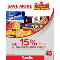 Get 15% off on selected Munchee Biscuits at Cargills FoodCity!