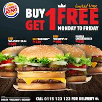 Limited time offer! Buy one Beef Whopper Jr. / Beef Big King™ / Beef Whopper / Double Cheeseburger and get one absolutely free at Burger King