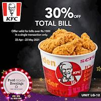 Get 30% OFF your total bill worth Rs. 1,500 or more when you are at KFC Sri Lanka with Foodtastic Evenings at One Galle Face