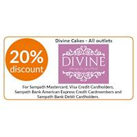 20% OFF for Dine-in, Takeaway & Cake Pre-Orders at all Divine Cakes outlets for all Sampath Mastercard, Visa Credit Cardholders, Sampath Bank American Express Credit Cardmembers & Sampath Debit Cardholders.