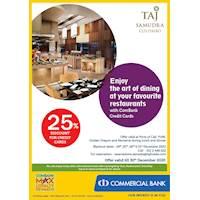 Get 25% Discount for Combank Credit Cards at Taj Samudra