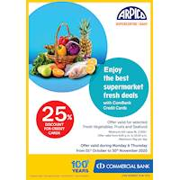 25% Discount for Combank Credit Cards on Selected fresh vegetables, fruits, and seafood at Arpico Supercentre
