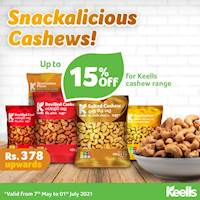Enjoy up to 15% off on the Keells cashew range